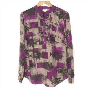 Merona Dressy Long Sleeve Blouse Purple XL